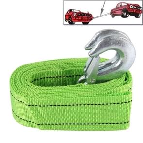ZONGYUAN 3m×4cm 3 Ton Car Elastic Voorce Towing Rope Straps met Two Hooks High Strength Kabel Cord Heavy Duty Recovery Securing Accessories voor Cars Trucks(groen)