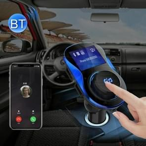 Wireless Bluetooth FM Transmitter Radio Adapter Car Charger, with 1.4 inch LCD Display, Music Player Support TF Card USB Flash Drive AUX Output for Smartphones(Blue)