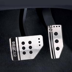Sparco 2 in 1 Universal Aluminum Alloy Car Safety Manual Brake Pedals Pads(Silver)