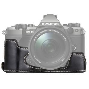 1/4 inch Thread PU Leather Camera Half Case Base for Olympus EM5 / EM5 Mark II (Black)