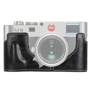 1/4 inch Thread PU Leather Camera Half Case Base for Leica M9 (Black)