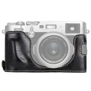 1/4 inch Thread PU Leather Camera Half Case Base for FUJIFILM X100F (Black)
