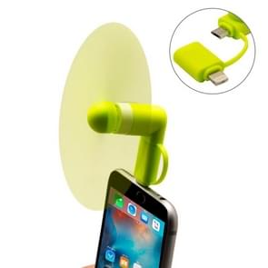 Fashion 8pin & Micro USB Ports Mini Fan with Two Leaves, For Mobile Phone with OTG Function & 8pin & Micro USB Ports(Green)