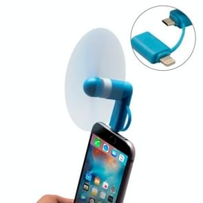Fashion 8pin & Micro USB Ports Mini Fan with Two Leaves, For Mobile Phone with OTG Function & 8pin & Micro USB Ports(Blue)