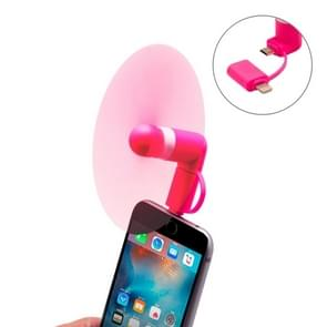 Fashion 8pin & Micro USB Ports Mini Fan with Two Leaves, For Mobile Phone with OTG Function & 8pin & Micro USB Ports(Magenta)