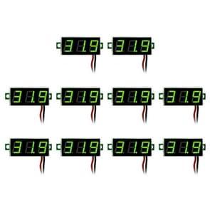 10 PCS 0.28 inch 2 Wires Adjustable Digital Voltage Meter, Color Light Display, Measure Voltage: DC 2.5-30V(Green)