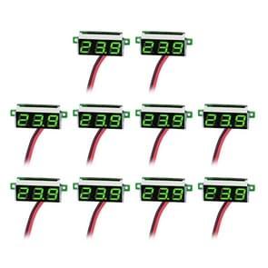 10 PCS 0.36 inch 2 Wires Digital Voltage Meter, Color Light Display, Measure Voltage: DC 2.5-30V(Green)