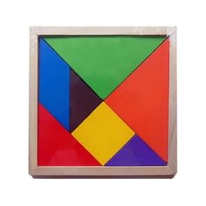 Baby Toy Fine houten Jigsaw Puzzle Large Size Tangram, Afmeting: 16*16cm