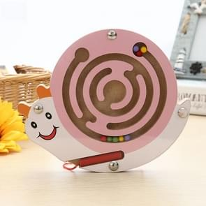 Children Puzzle Toy houten Magnetic Small Size Snail patroon Animal Maze