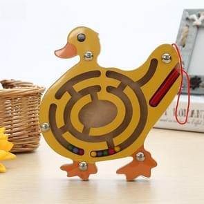 Children Puzzle Toy houten Magnetic Small Size Duck patroon Animal Maze