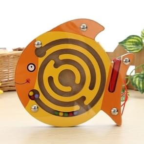 Children Puzzle Toy houten Magnetic Small Size Fish patroon Animal Maze
