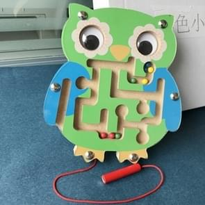 Children Puzzle Toy houten Magnetic Small Size Uil patroon Animal Maze
