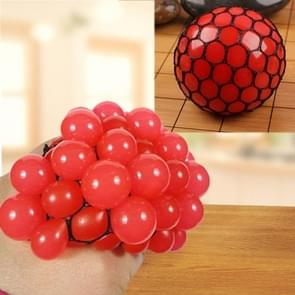 Anti Stress Face Reliever Grape Ball Extrusion Mood Squeeze Relief Healthy Funny Tricky Vent Toy(Red)