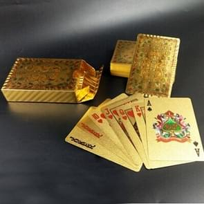 Creative Frosted Mosaic Gold Double Dragon Kung Hei Fat Choy Back Texture Plastic From Vegas to Macau Playing Cards Texas Poker
