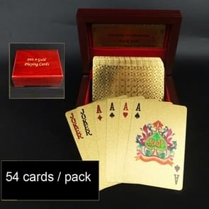 Creative Frosted Golden Tattice Back Texture Plastic From Vegas to Macau Playing Cards Texas Poker with Wooden Gift Box