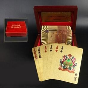 Creative Frosted Mosaic Gold Euro Back Texture Plastic From Vegas to Macau Playing Cards Texas Poker with Wooden Gift Box