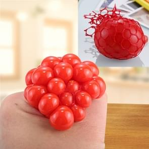 5cm Anti-Stress Face Reliever Grape Ball Extrusion Mood Squeeze Relief Healthy Funny Tricky Vent Toy with Hanging Ring (Red)