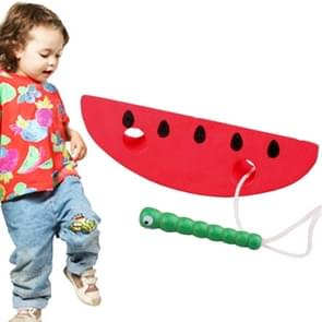houten Toys Threading Caterpillars Eat Watermeloen Novelty Funny Educational hout Toys