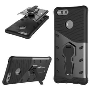 Huawei Honor 7X PC + TPU Dropproof Sniper Hybrid Protective Back Cover Case with 360 Degree Rotation Holder (Black)