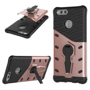 Huawei Honor 7X PC + TPU Dropproof Sniper Hybrid Protective Back Cover Case with 360 Degree Rotation Holder (Rose Gold)
