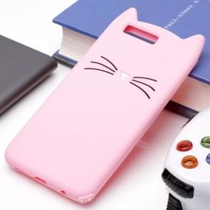Huawei Honor 9 siliconen Cat Whiskers patroon beschermings Back Cover hoesje(roze)