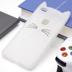 Huawei P10 Lite siliconen Cat Whiskers patroon beschermings Back Cover hoesje wit
