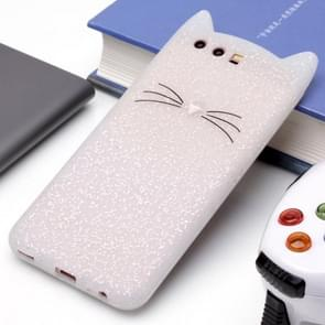 Huawei P10 siliconen Cat Whiskers patroon beschermings Back Cover hoesje wit