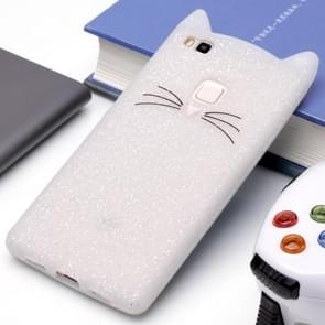 Huawei P9 Lite siliconen Cat Whiskers patroon beschermings Back Cover hoesje wit