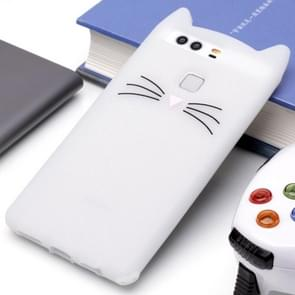 Huawei P9 siliconen Cat Whiskers patroon beschermings Back Cover hoesjewit