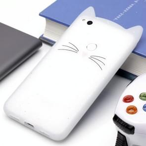 Huawei P8 Lite (2017) siliconen Cat Whiskers patroon beschermings Back Cover hoesjewit