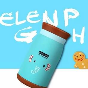 Long Time Heat Retention Thermos Vacuum Insulated Cartoon Style Youthful Stainless Steel Beverage Bottle(Blue 350 ml)