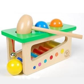 Educational Toy Colorful Wooden Ringing Bell Knocking Ball Station