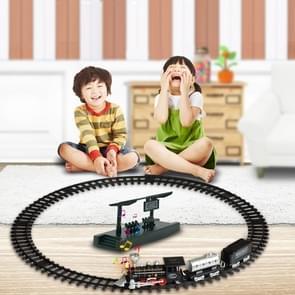 SS333-64 Electric Retro Simulation Train Model Children Toys Light Music Track Train (Black)