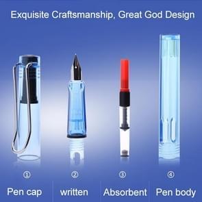 3 PCS School Office Extra Fine Titanium Alloy Nib Transparent Piston Fountain Pen(Blue), Random Delivery (0.5mm/0.38mm Nib)