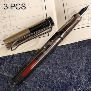 3 PCS School Office Extra Fine Titanium Alloy Nib Transparent Piston Fountain Pen(Clear Gray), Random Delivery (0.5mm/0.38mm Nib)