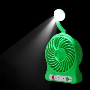 Multi-function Portable Rechargeable Low Noise Mini USB Fan with LED Light & 3 Level Adjustable Wind Speed(Green)