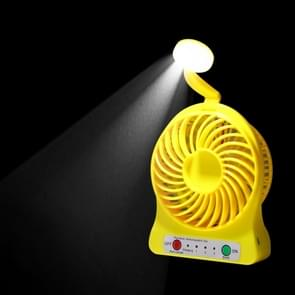 Multi-function Portable Rechargeable Low Noise Mini USB Fan with LED Light & 3 Level Adjustable Wind Speed(Yellow)