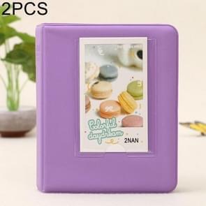 2 PCS DIY Creativity Insert Type Pinkycolor 64 Pages Exquisite Photo Album(Purple)