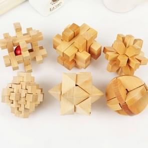 6 in 1 / Set houten Interlocking Kong Ming Luban Lock Puzzle Game Educational Adults Kids Toy