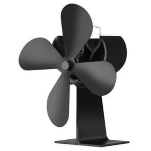 XL BLFS-001 4-Blade Aluminum Heat Powered Ultra Quiet Fireplace Stove Fan(Black)