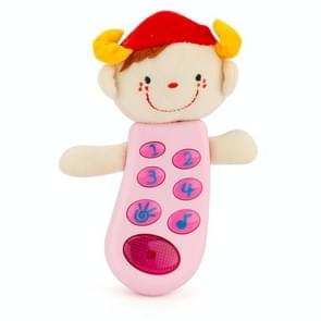 Brettbble Cartoon Baby Child Early Education Plush Doll Phone Music Toys with LED Light (Pink)