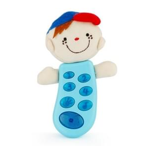 Brettbble Cartoon Baby Child Early Education Plush Doll Phone Music Toys with LED Light (Blue)