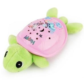 Brettbble Cartoon Baby Child Early Education Turtle Style Music Toys with LED Light Star Projection (Pink)