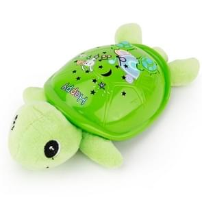 Brettbble Cartoon Baby Child Early Education Turtle Style Music Toys with LED Light Star Projection (Green)