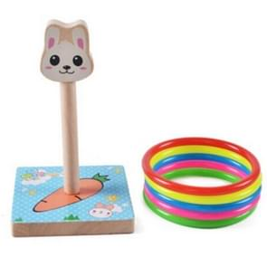 Kindergarten Children houten Rabbit Animal Throwing Ring Toss Games Activities Toys, Afmeting: 9*9*14.7cm