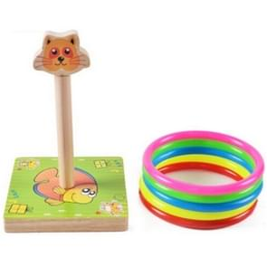Kindergarten Children houten Cat Animal Throwing Ring Toss Games Activities Toys, Afmeting: 9*9*14.7cm