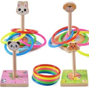 Kindergarten Children houten Dog Animal Throwing Ring Toss Games Activities Toys, Afmeting: 9*9*14.7cm