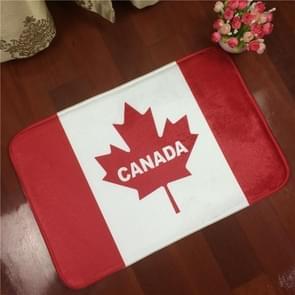 Canada Flag Pattern Rectangular Bathroom Living Room Bedroom Door Flannel Anti-skid Household Foot Pad Carpet, Size: 50cm x 80cm