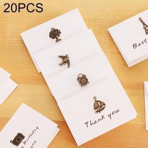 20 PCS Creative Simple Mini Ornaments Greeting Card Birthday Card DIY Folding Blessing Card Postcard, Random Style Delivery