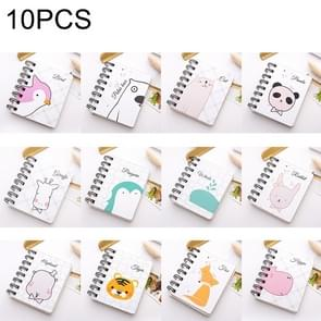 10 PCS Cartoon Print Pocket-size Coil Memo Pad Notes Bookmark School Office Supply, Random Style Delivery